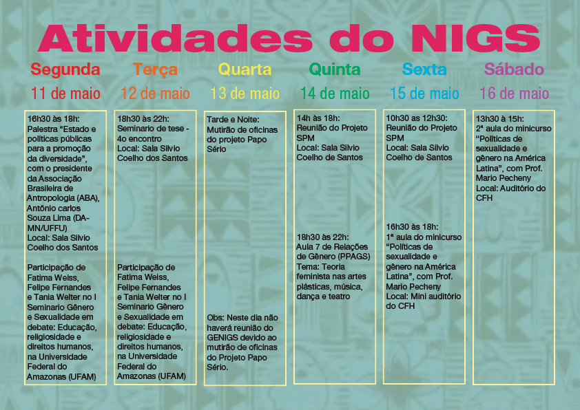 atividades do nigs - 2ª semana maio